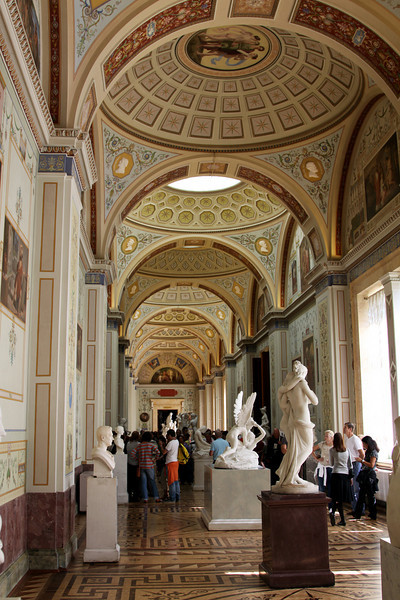 Hermitage Interior - Gallery, marble statues.