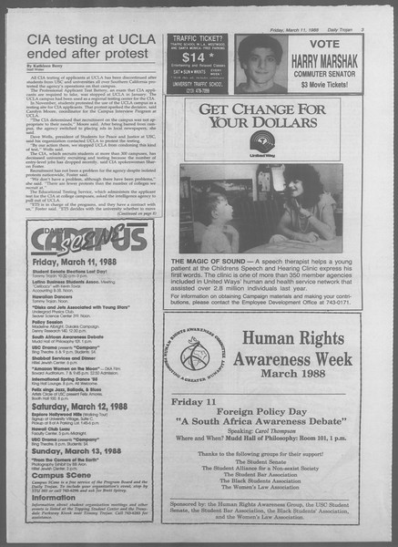 Daily Trojan, Vol. 106, No. 42, March 11, 1988