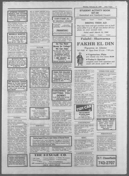 Daily Trojan, Vol. 106, No. 28, February 22, 1988