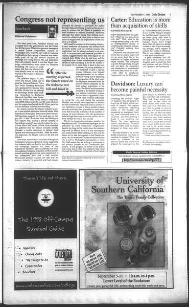 Daily Trojan, Vol. 135, No. 3, September 04, 1998