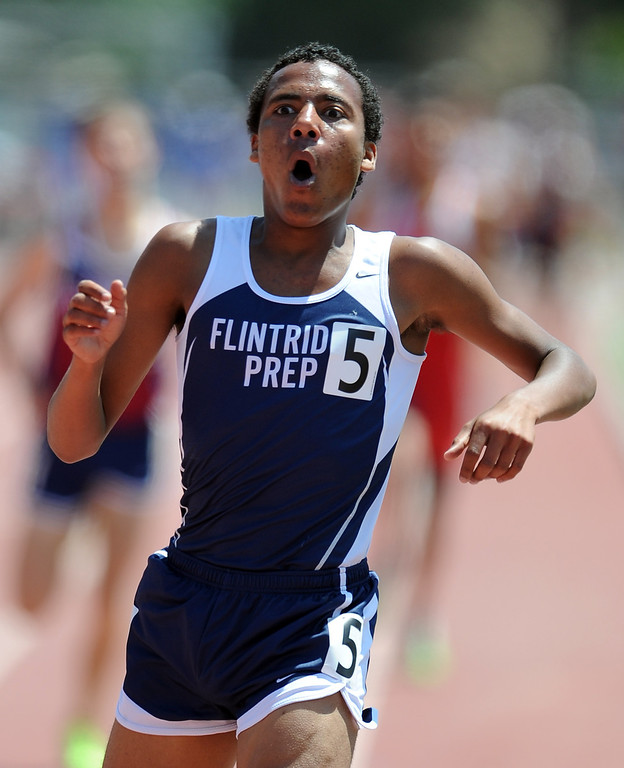 . Flintrtidge Prep\'s Alan Yoho reacts after finishing second in the 1600 meter race during the CIF-SS track & Field championship finals in Hilmer Stadium on the campus of Mt. San Antonio College on Saturday, May 18, 2013 in Walnut, Calif.  (Keith Birmingham Pasadena Star-News)