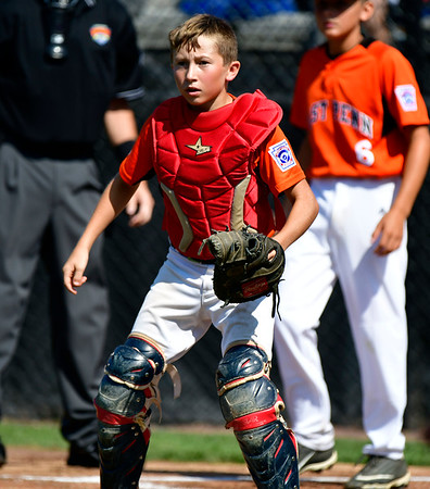 8/4/2019 Mike Orazzi | Staff East Pennsboro Little League's Lucas Martz (22) during their opening round game of the Little League Mid-Atlantic regional Baseball Tournament in Bristol.