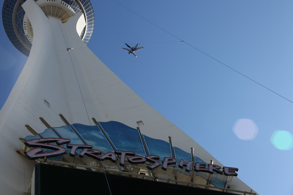 . SkyJump at the Stratosphere Hotel in Las Vegas is listed as a Guinness world-record holder for the highest commercially available controlled descent, off the tower deck at 855 feet. Provided by Marc Paulus, Stratosphere