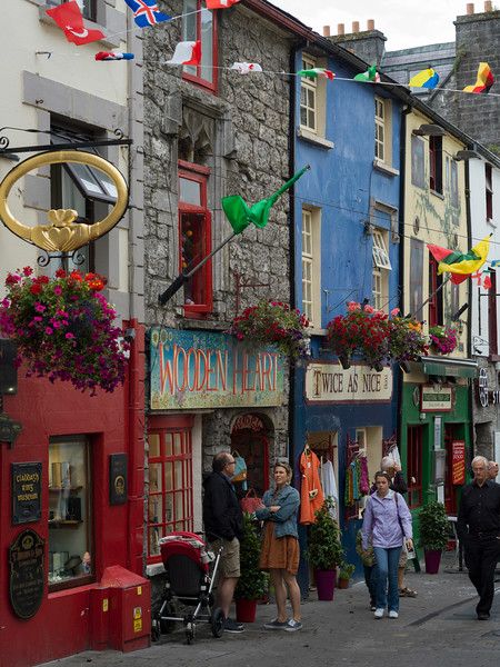 View of street with pedestrian and stores, Galway City, County Galway, Ireland