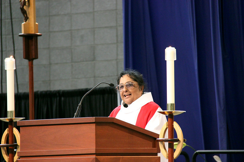 The Rev. Esther Rajashekar shares the message in worship.