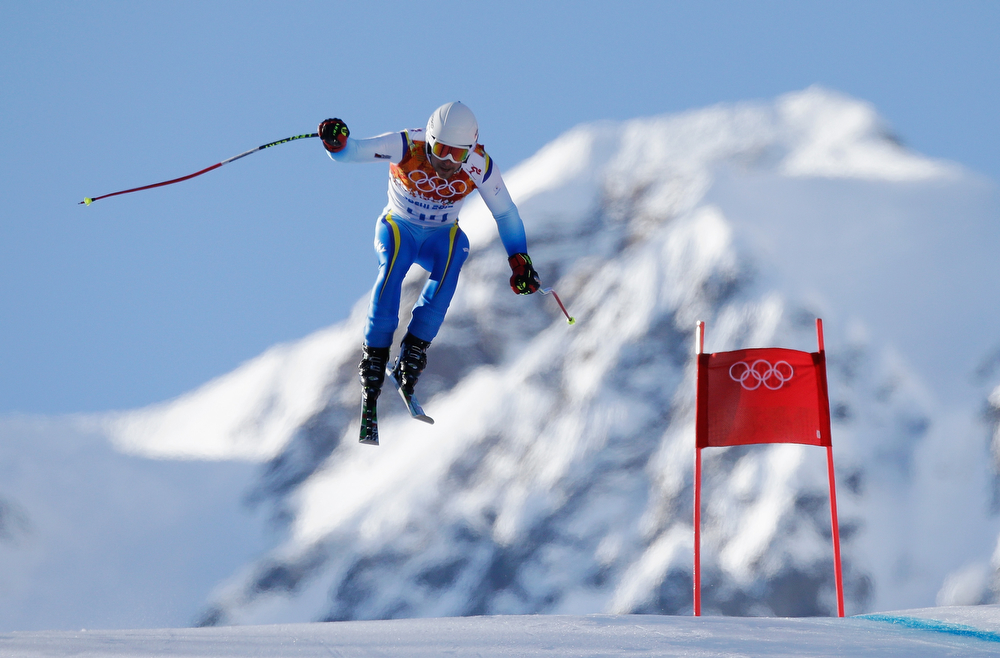 . Igor Laikert of Bosnia and Herzegovina competes during the Alpine Skiing Men\'s Super Combined Downhill on day 7 of the Sochi 2014 Winter Olympics at Rosa Khutor Alpine Center on February 14, 2014 in Sochi, Russia.  (Photo by Ezra Shaw/Getty Images)
