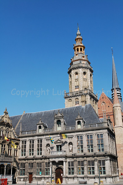 The Belfry tower and Landhuis in Veurne, Belgium.