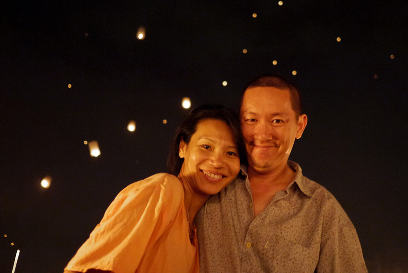The GotPassports during Loy Krathong in Chiang Mai, Thailand