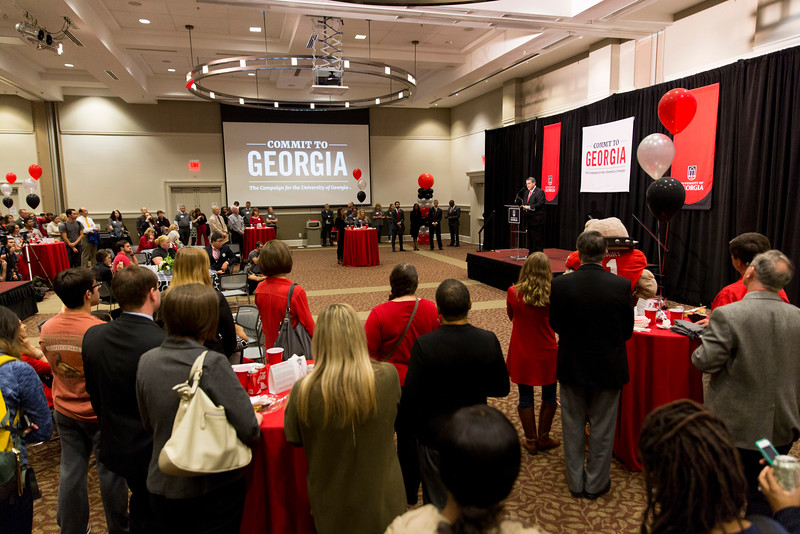 Description: Capital Campaign Campus KickoffDate of Photo: 11/10/2016Credit: Andrew Davis Tucker, University of GeorgiaPhotographic Services File: 34401-205The University of Georgia owns the rights to this image or has permission to redistribute this image. Permission to use this image is granted for internal UGA publications and promotions and for a one-time use for news purposes. Separate permission and payment of a fee is required to use any image for any other purpose, including but not limited to, commercial, advertising or illustrative purposes. Unauthorized use of any of these copyrighted photographs is unlawful and may subject the user to civil and criminal penalties. Possession of this image signifies agreement to all the terms described above.
