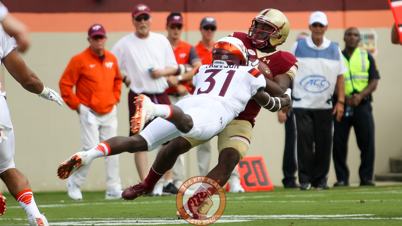 CB Brandon Facyson (31) tackles Boston College RB Davon Jones. (Mark Umansky/TheKeyPlay.com)