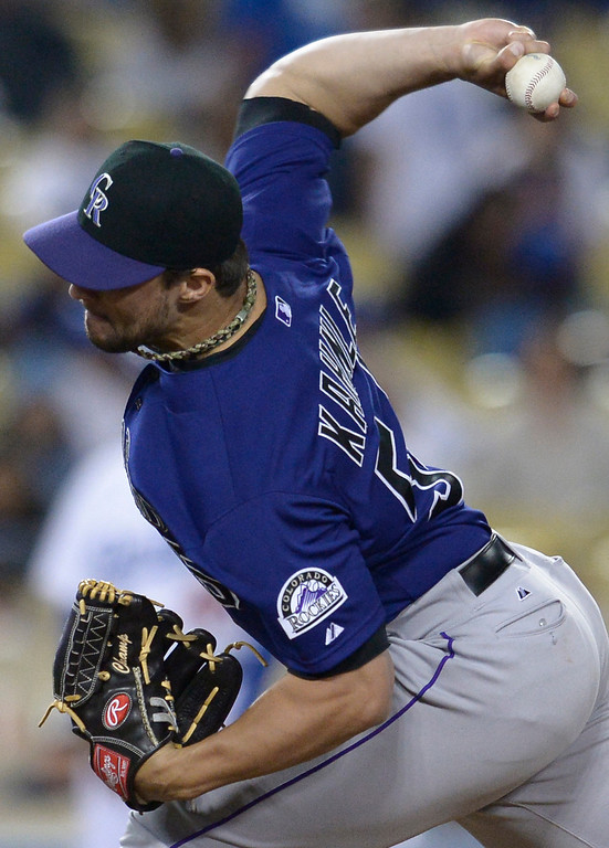 . Tammy Kahnle on the mound for the Rockies. The Dodgers defeated the Colorado Rockies at 4-2 Dodger Stadium in Los Angeles, CA. 6/18/2014(Photo by John McCoy Daily News)
