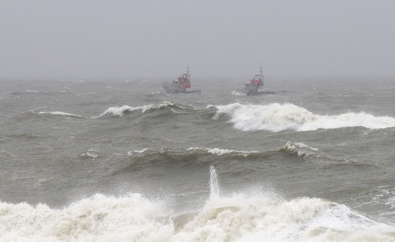 10/10/13   Day 2 nor'easter. Coast guard training in snotty conditions, wind 35 mph.
