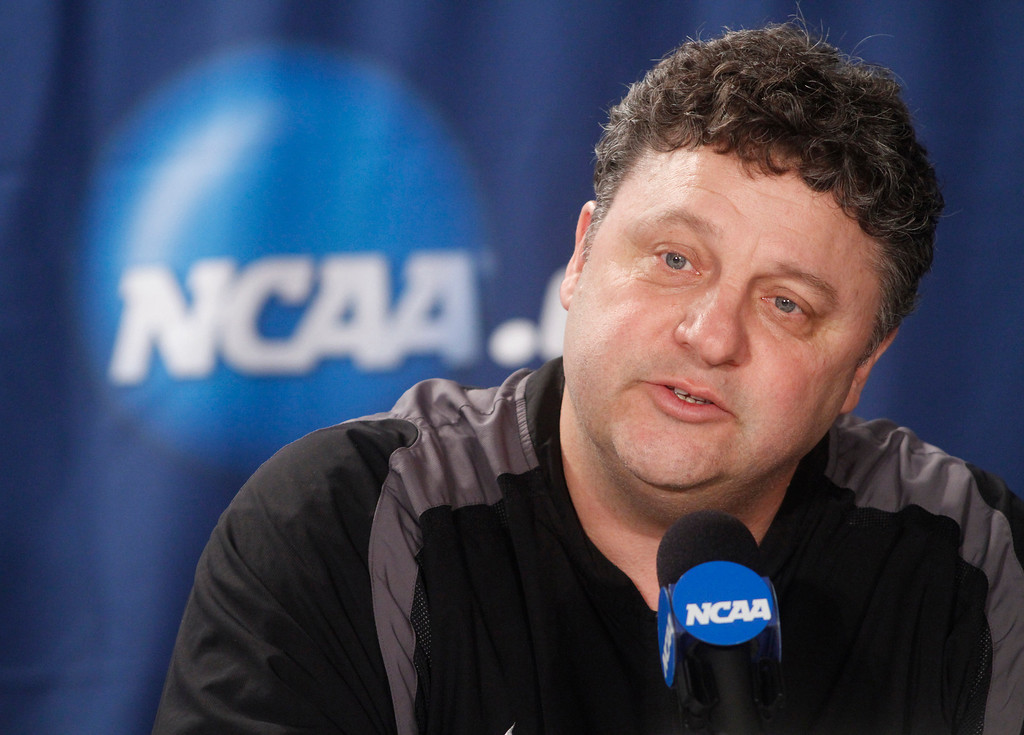. FILE -  In this March 17, 2011 file photo, Oakland, Mich., University head coach Greg Kampe speaks during a news conference at the West regional second round NCAA college basketball tournament in Tulsa, Okla. Oakland University is hoping the Horizon League sees the Golden Grizzlies as a fit to fill the void created last week when Butler announced plans to join the Atlantic 10. (AP Photo)
