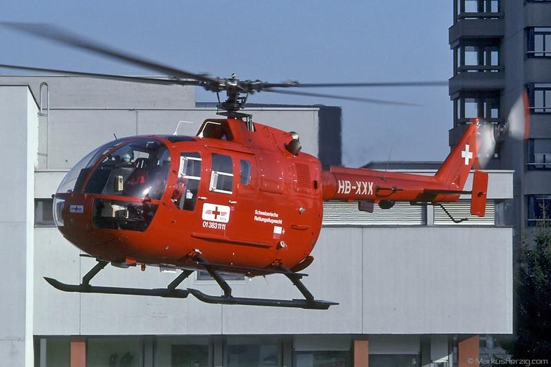 HB-XXK BO105CBS-4 Rega @ Bern-Insel Switzerland 3Jan92