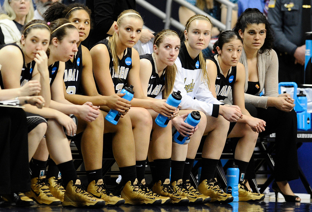 . Idaho players watch the final seconds of a first-round game in the women\'s NCAA college basketball tournament against Connecticut in Storrs, Conn., Saturday, March 23, 2013. Connecticut won 105-37. (AP Photo/Jessica Hill)