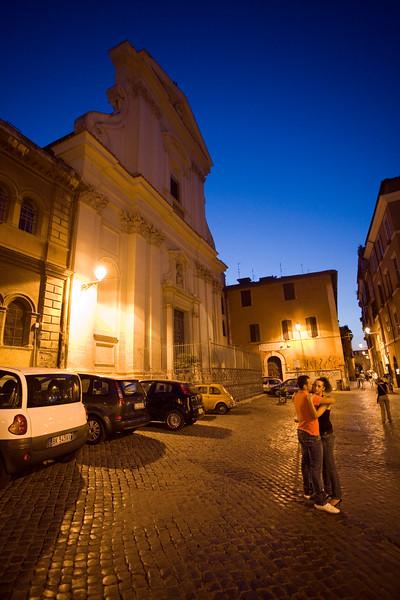 Night scene in Trastevere, Rome