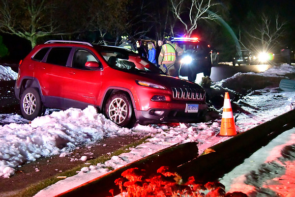11/20/2018 Mike Orazzi | Staff The scene of a one vehicle crash on Hopmeadow Road in Bristol Tuesday evening. No injuries were reported.