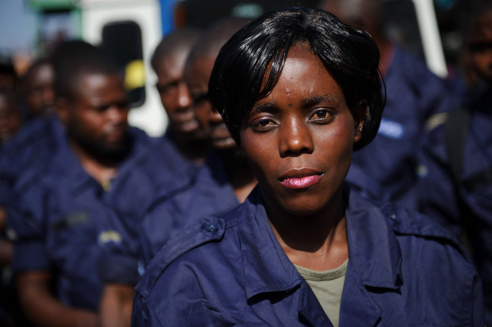. A Congolese national police officer prepares to disembark from a boat at the port in the city of Goma, in the east of the Democratic Republic of Congo, on December 2, 2012. After M23 rebels pulled out of Goma yesterday, 166 government police officers arrived this morning from Bukavu. PHIL MOORE/AFP/Getty Images