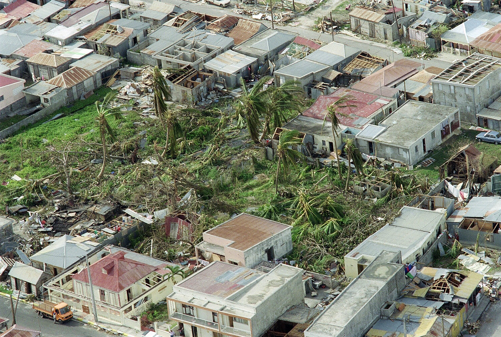 . Aerial view of a devastated dwelling area on the Eastern coast of Guadeloupe taken 19 September 1989 after Hurricane Hugo swept across the Caribbean Island, killing 20 people and leaving tens of thousands homeless people. (Photo credit should read GERARD FOUET/AFP/Getty Images)