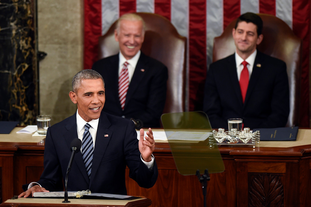 . Vice President Joe Biden and House Speaker Paul Ryan of Wis., listen as President Barack Obama gives his State of the Union address to a joint session of Congress on Capitol Hill in Washington, Tuesday, Jan. 12, 2016. (AP Photo/Susan Walsh)