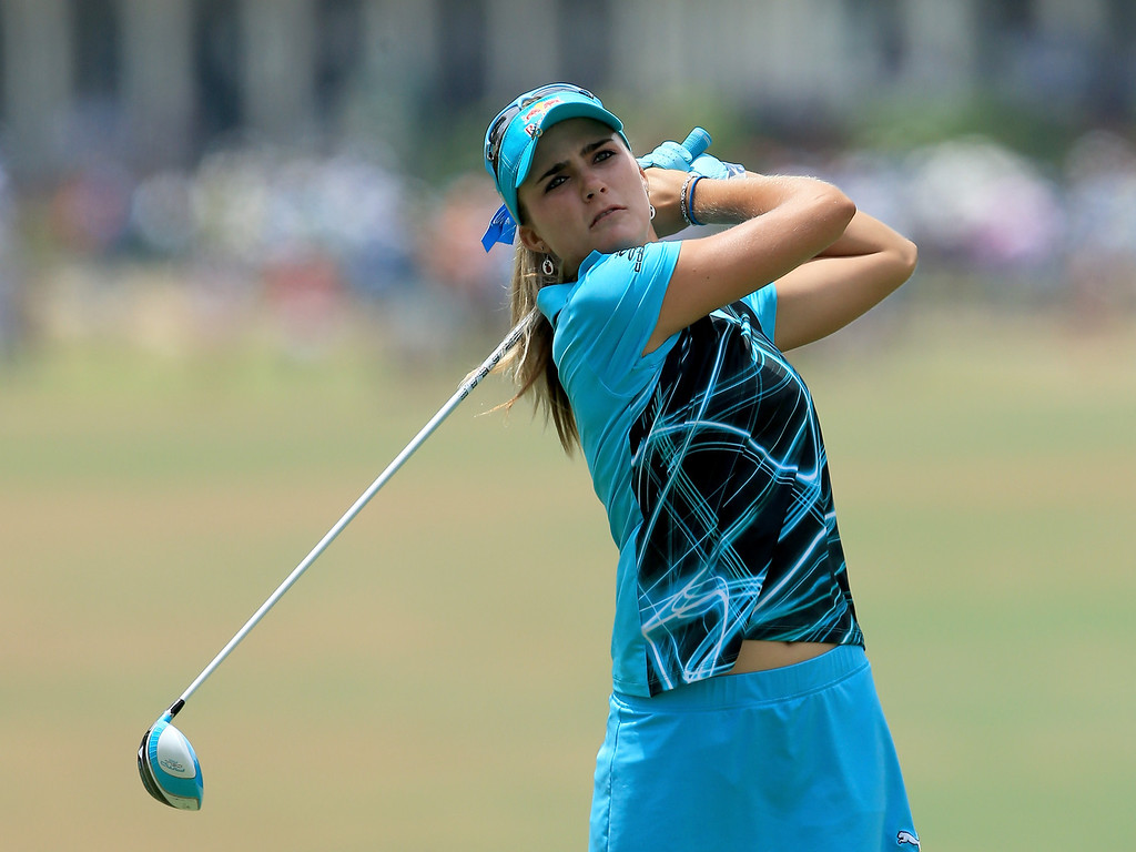 . Lexi Thompson of the USA plays her tee shot at the par 4, second hole during the final round of the 69th U.S. Women\'s Open at Pinehurst Resort & Country Club, Course No. 2, on June 22, 2014 in Pinehurst, North Carolina.  (Photo by David Cannon/Getty Images)