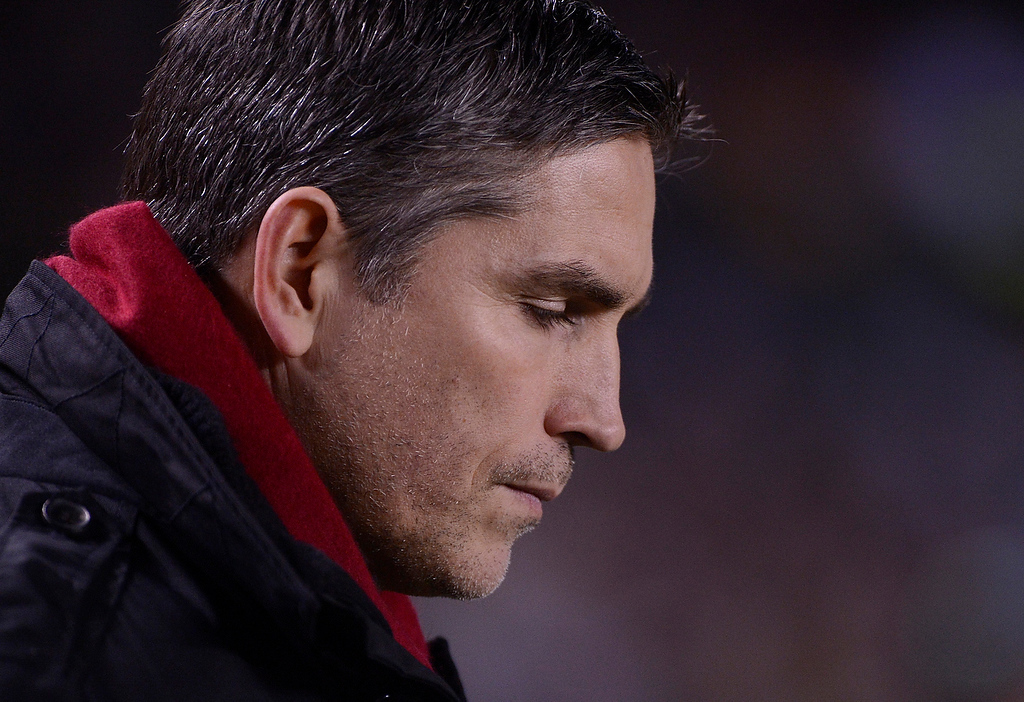 . Television actor Jim Caviezel wanders the sidelines while watching the De La Salle Spartans vs. Centennial Huskies Open Division game during the 2012 CIF State Football Championship at Home Depot Center in Carson , Calif. on Saturday, Dec. 15, 2012. (Jose Carlos Fajardo/Staff)
