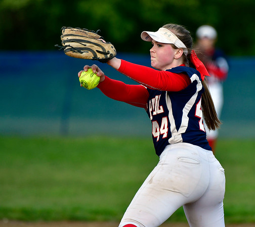 5/15/2019 Mike Orazzi | Staff St. Paul's Abby Poirot (44) during softball with Farmington in Bristol Wednesday.