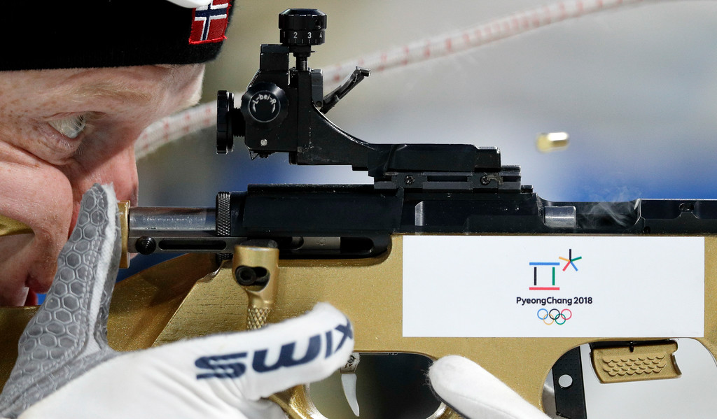. Norway\'s Emil Hegle Svendsen aims his rifle during a biathlon training session at the 2018 Winter Olympics in Pyeongchang, South Korea, Monday, Feb. 19, 2018. (AP Photo/Andrew Medichini)