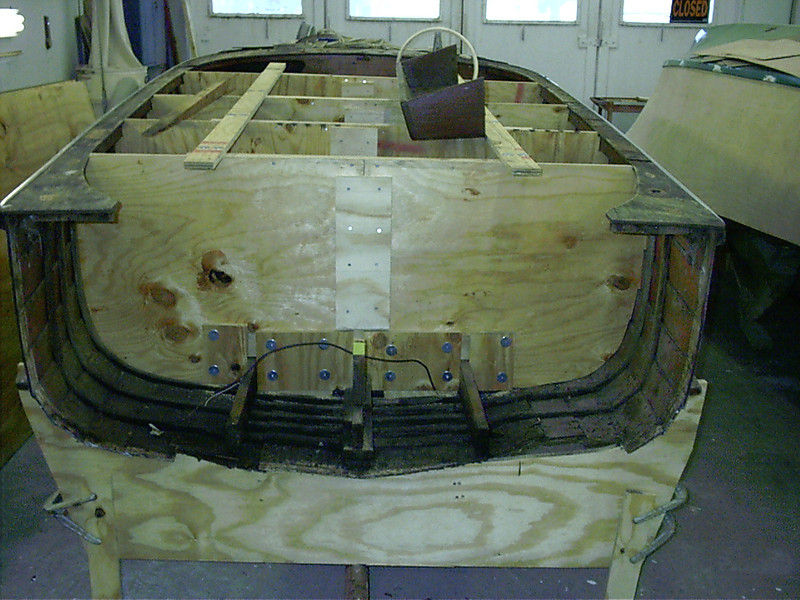 Another view of transom removed.
