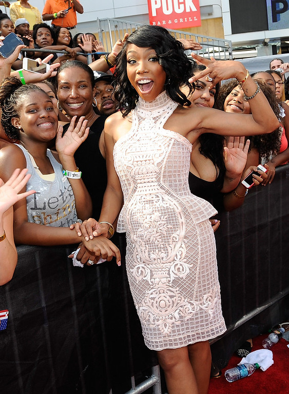 . Singer Brandy attends the 106 & Park Stage Pre-Show during the BET Awards at Nokia Theatre L.A. Live on June 30, 2013 in Los Angeles, California.  (Photo by John Ricard/Getty Images for BET)