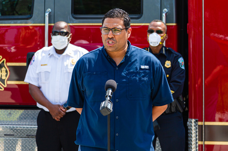 Riviera Beach City Manager, Jonathon Evans, speaks to the press to thank SICA and Amrit for the PPE that was delivered to the Riviera Beach Fire Station #87 in Riviera Beach on Wednesday, April 8, 2020. [JOSEPH FORZANO/palmbeachpost.com]