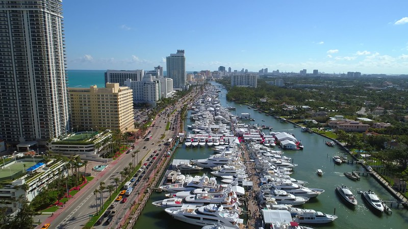 Luxury yachts at the Miami International boat show