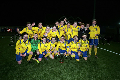 Newry AFC Reserves celebrate winning the Wilmor Johnston Memorial Cup, beating Banbridge Rangers Reserves 2-1 in extra time at Holme park, Armagh. RS1414