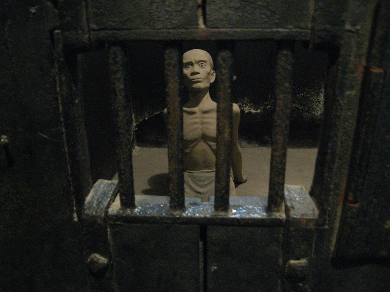 A depiction of what life was like in a cell at the Hanoi Hilton.