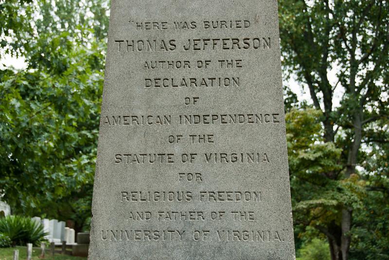 Thomas Jefferson memorial in Monticello, Charlottesville, Virginia