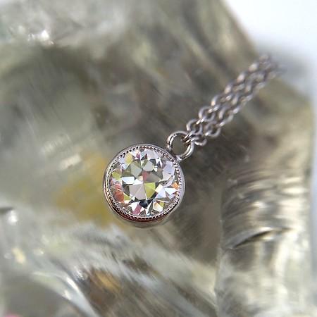 .48ct Old European Cut Diamond Pendant Necklace in 14kt WG