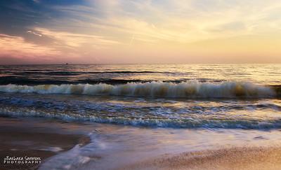 Waves of Change - Sunset over Yaupon Beach-Oak Island, NC