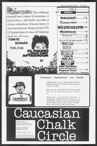 Daily Trojan, Vol. 72, No. 31, November 02, 1977