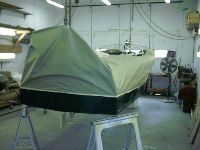 Rear view of bottom being painted.