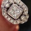 Art Deco Inspired Princess Cut Diamond Halo Ring 12