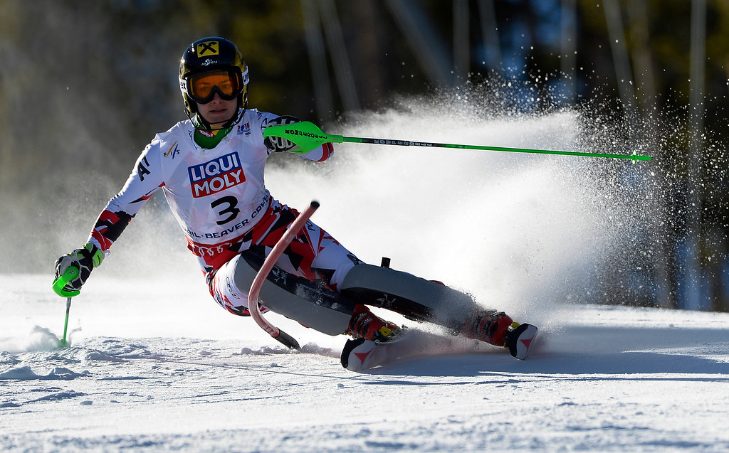 . Kathrin Zettel of Austria races in the Ladies slalom at the FIS Alpine World Ski Championships in Beaver Creek, CO. February 14, 2015. She is currently in ninth place after the first run. (Photo By Helen H. Richardson/The Denver Post)