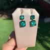 Georgian Double Drop Emerald Paste Earrings 0