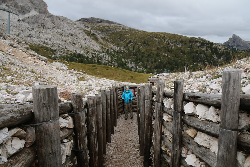Mitzi in Cinque Torri historical path in the trenches of World War I.