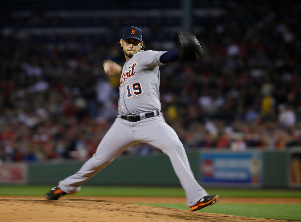 . Detroit Tigers starting pitcher Anibal Sanchez throws against the Boston Red Sox in the second inning during Game 1 of the American League baseball championship series Saturday, Oct. 12, 2013, in Boston. (AP Photo/Matt Slocum)