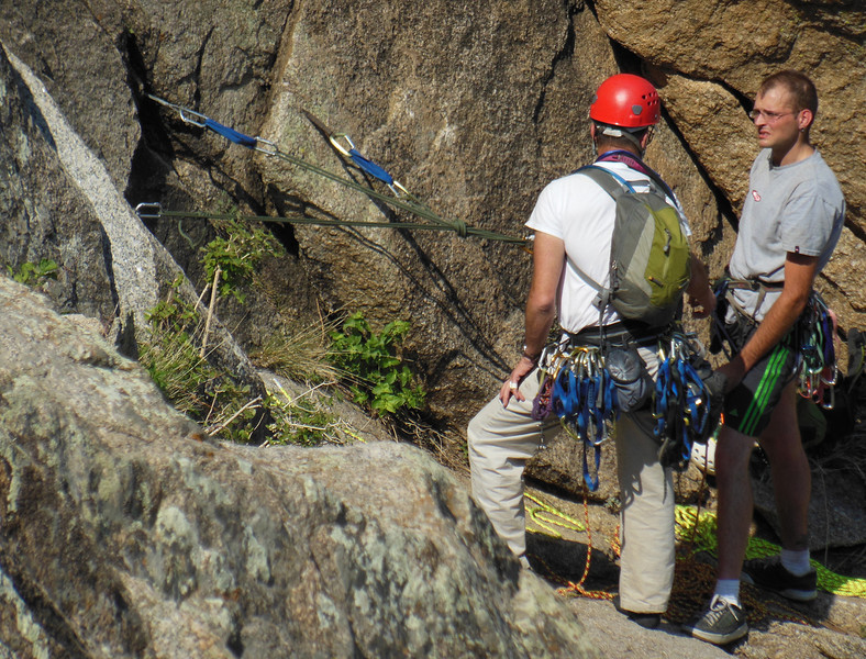 Neighboring climbers on Opal - Dave demonstrates a great statically equalized anchor to Kirby.