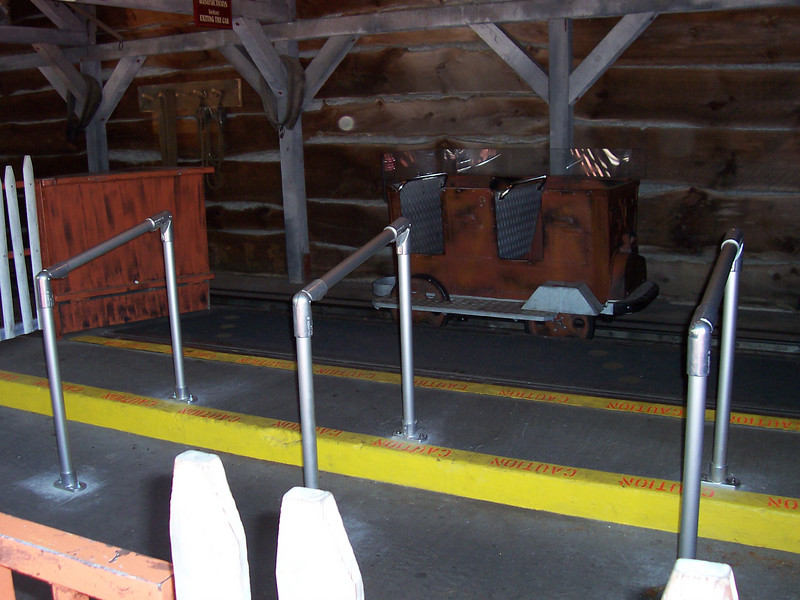 Newly-renovated exit area for Mine of Lost Souls. The rails are new.