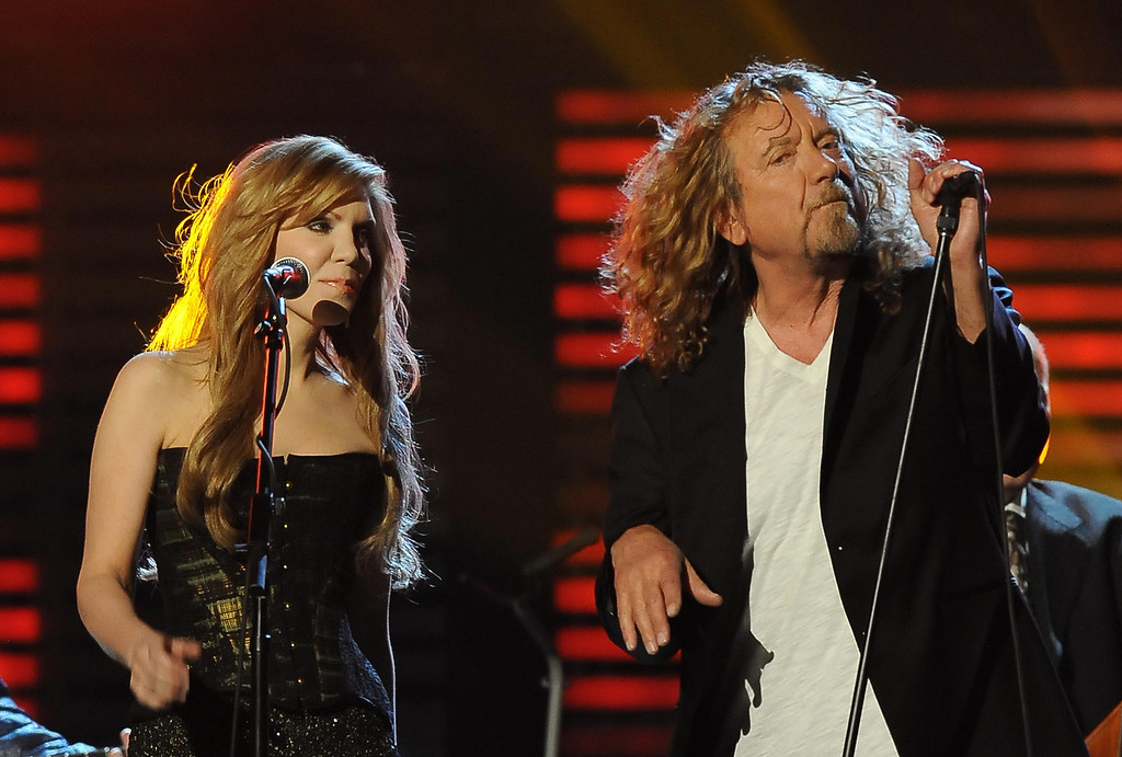 ". Robert Plant and Alison Krauss perform before accepting the Album of the Year award for their album ""Raising the Sand\"" during the 51st annual Grammy awards held at the Staples Center in Los Angeles on February 8, 2009.   ROBYN BECK/AFP/Getty Images"