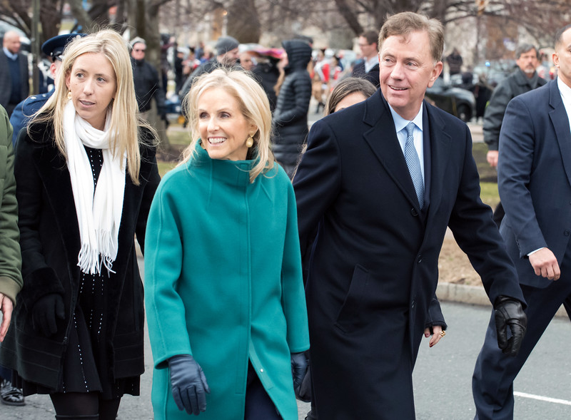 01/09/19  Wesley Bunnell | Staff  Governor Ned Lamont and wife Ann Lamont during their parade from the State Armory to the Legislative Office Building.