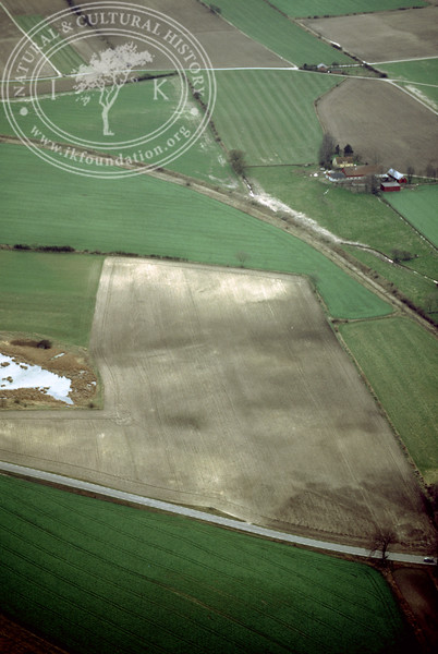 Farmland west of Ravlunda church - with plantations, buildings and prehistoric remains (2 April, 1989). | LH.0482