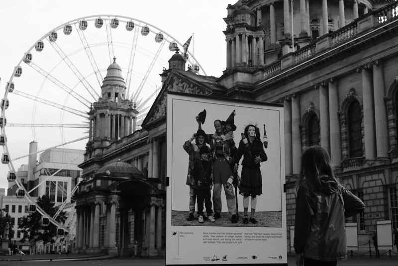 At the end of the day I had a few minutes to run around downtown Belfast.  There was a neat exhibit all over the city with hundreds of superb family photo portraits from all over the world.  The photos told a brief thing about the people's lives: for example there was a family of Italian street performers, a Polish farm family with 12 kids, a Peruvian family of miners, etc.  I could have stayed there all day.
